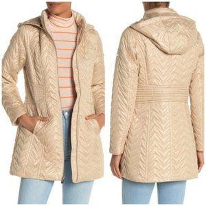 Via Spiga Zig-Zag Quilted Detachable Hood Jacket M